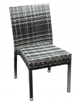 Mary Aluminium Wicker Weave Stacking Side Chair in Black & White